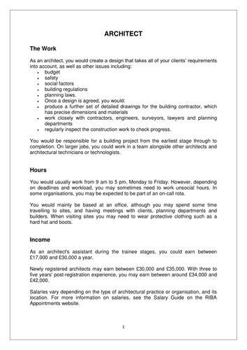 Information on Jobs in Construction - Architect, Building Surveyor,  Bricklayer, Carpenter