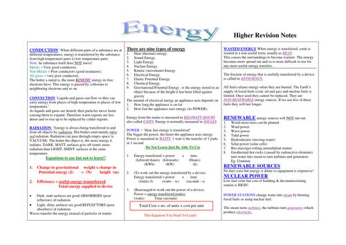 GCSE Physics Energy Revision Higher