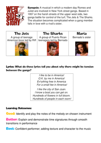 West Side Story Time Signatures Worksheet / Activity