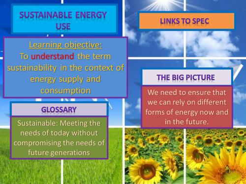 AQA AS level geography (legacy). Using sustainable energy.
