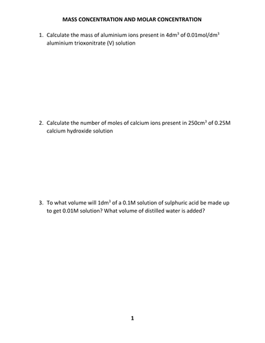 CONCENTRATION WORKSHEET WITH ANSWER by kunletosin246 - Teaching ...