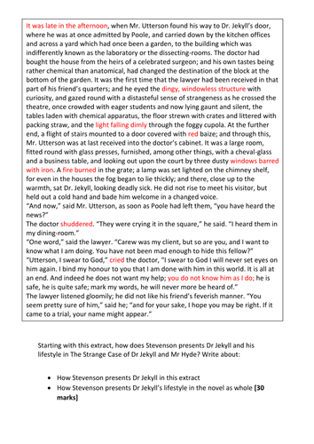 DR JEKYLL AND MR HYDE MOCK EXAM ASSESSMENT NEW AQA 1-9 SPEC