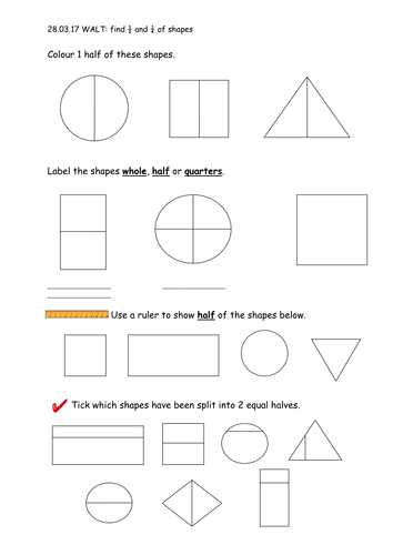 Year 1 Fractions 1/2 and 1/4