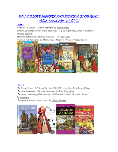 HISTORY AND RECOMMENDED READING FOR PLEASURE: DISPLAY