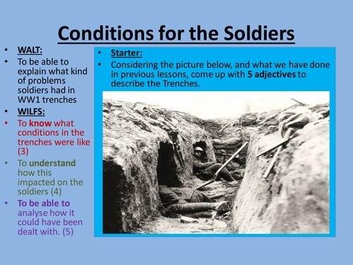 Afflictions suffered by soldiers during WWI