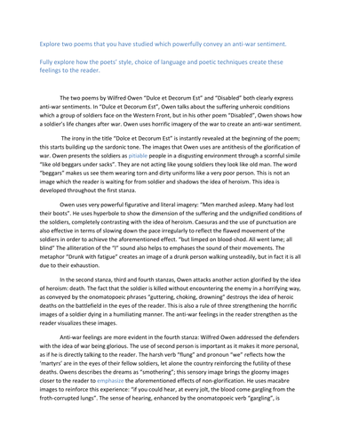 IGCSE English war poems analysis