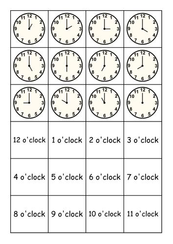 Matching clocks: o'clock, half past, quarter past and quarter to