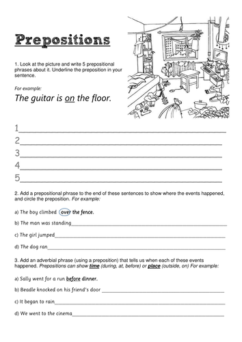 Prepositions and subordinating conjunctions - Upper Key Stage 2 worksheet/homework