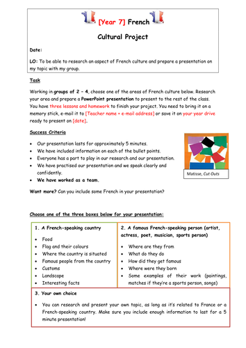 Cultural Project Research Worksheet