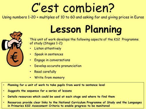 C'est combien Lesson Planning - KS2 French unit of work on numbers and prices