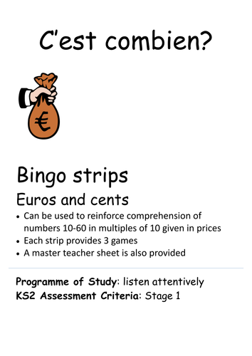 C'est combien Bingo  - numbers in prices of  whole euros and euros and cents
