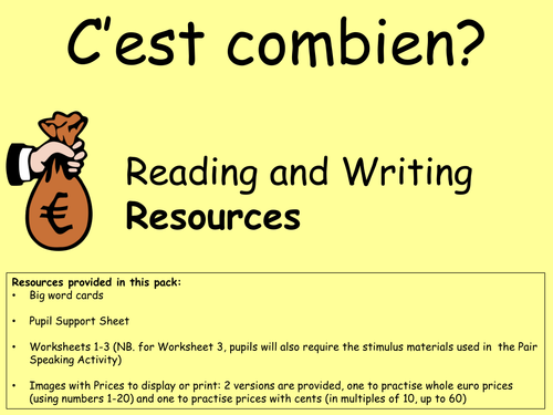 C'est combien Reading and Writing - KS2 Resources and Activities for asking for and giving prices