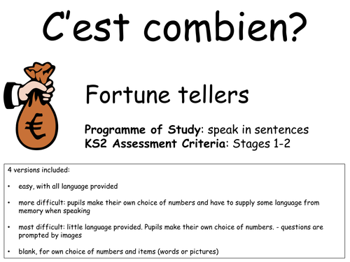 C'est combien Fortune Tellers - KS2 activity to practise asking for and giving prices