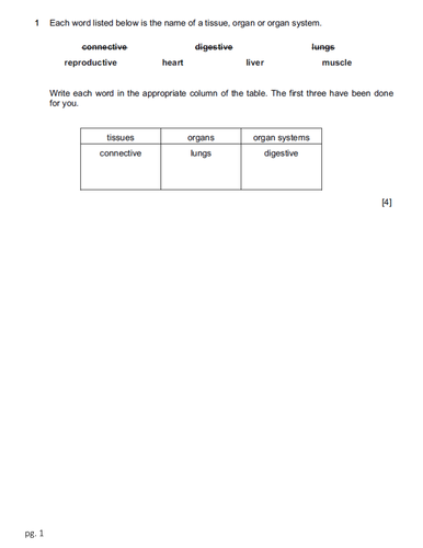 Checkpoint Science-Biology worksheets with Mark Scheme