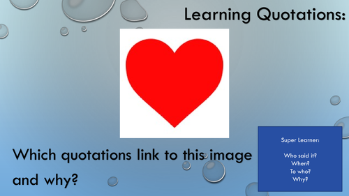 'Learning Quotations' Starters for Closed Book Exams