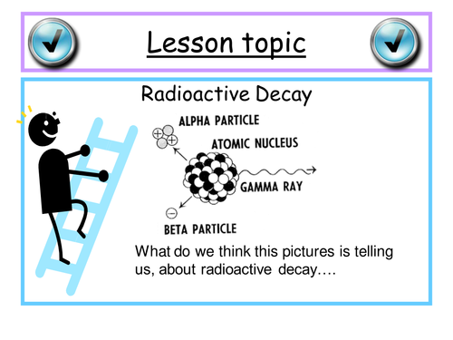 GCSE Physics 2 lessons pwpt on Radioactive decay equations with linked homework