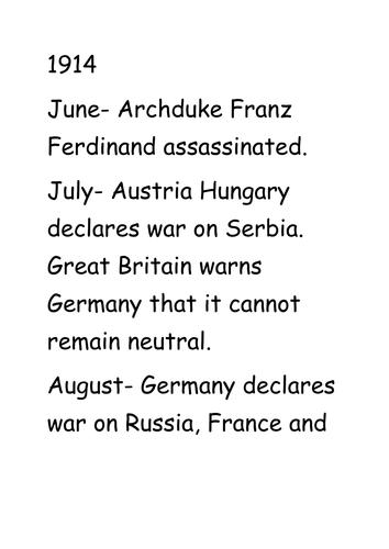 WW1 and WW2 key dates timeline