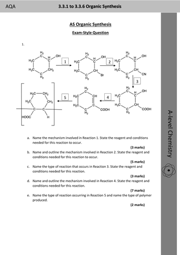 AQA AS and Year One Chemistry Organic Synthesis Routes and Mechanism Practice Exam-Style Questions