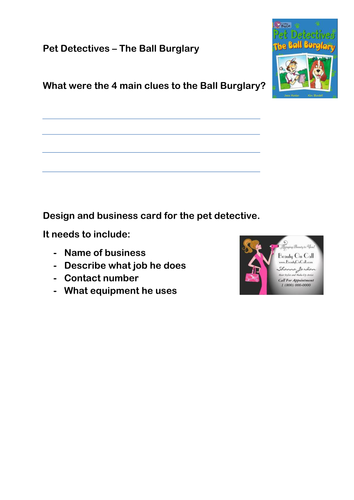 Pet Detectives Ball Burglary Gold Band Reading Activity Inference