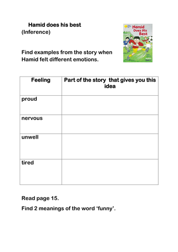 Hamid does his best Oxford Reading tree Reading Activity Expected Standard KS1 gold level