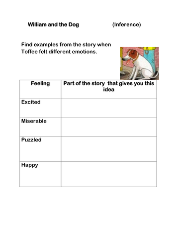 William and the Dog Reading Activity  Oxford reading tree Gold Band  expected standard KS1