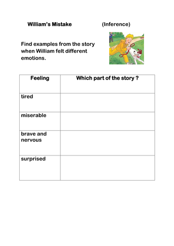 William's Mistake Reading Task Oxford reading Tree Gold Band KS1 Expected Level