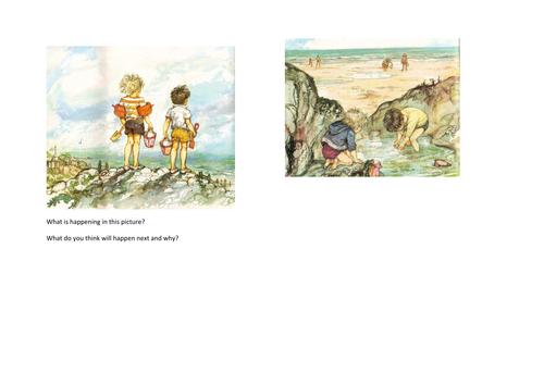 Reading Prediction task based on Shirley Hughes Illustration Beach Scene