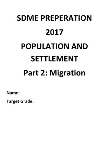 GCSE OCR B Geography SDME preparation booklet - part 2 migration