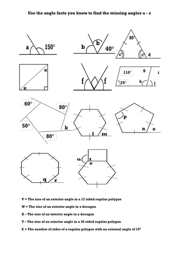 Missing Interior and Exterior angles in Polygons