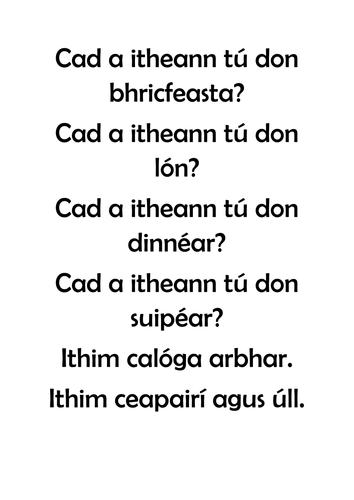 Gaeilge: Bia, Feidhmeanna Teanga, labhairt, leitheoireacht,