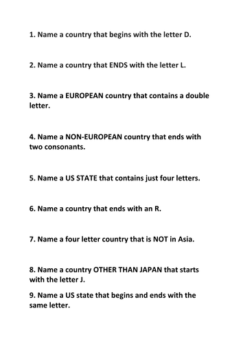 Challenging Geography Quiz! (Answers included) by l_black | Teaching