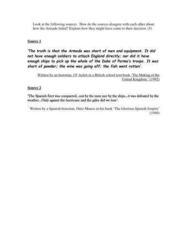 Spanish Armada: Source interpretation. KS3. Year 8 History.