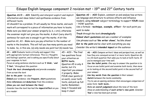 Revision Mat - Eduqas English Language Component 2 (19th/21st Century Non Fiction)