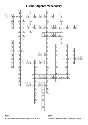 Further Algebra Vocabulary Crossword and Wordsearch