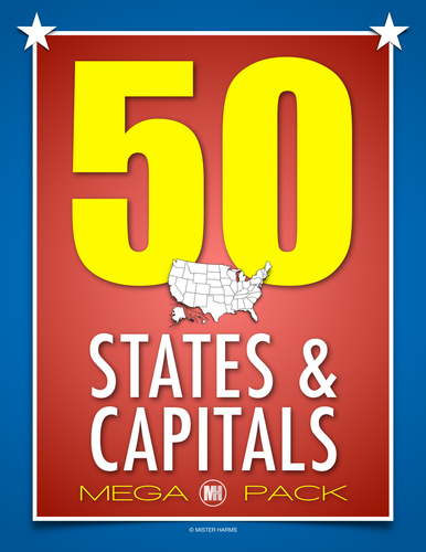 50 United States and Capitals MEGA Pack of Resources