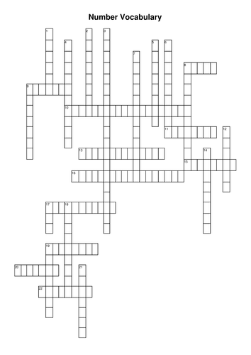 Number Vocabulary Crossword and Word Search by