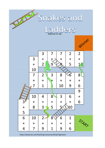 Snakes and Ladders game to practise addition (up to 10 or up to 100)