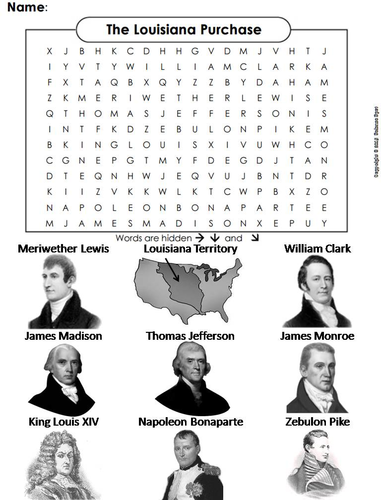 Louisiana Purchase Worksheet/ Word Search   Teaching Resources