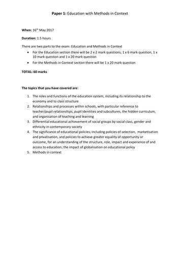 AQA AS Sociology Education revision checklist