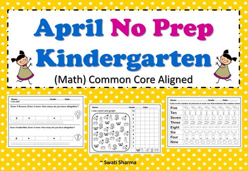 April No Prep Kindergarten Math Packet