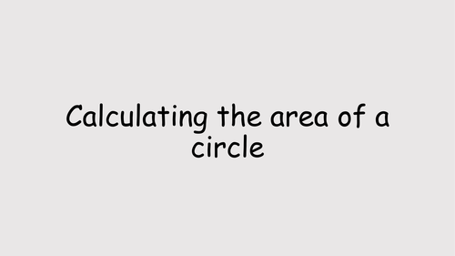 Calculating the area of a circle