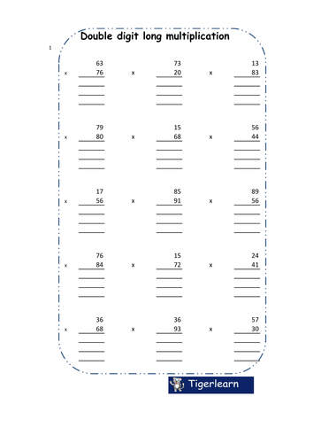 Long multiplication worksheet - 120 questions/8 pages