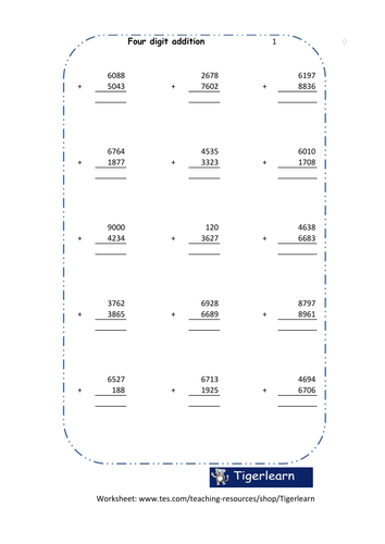 Four digit addition in columns worksheet - 120 questions/8 pages