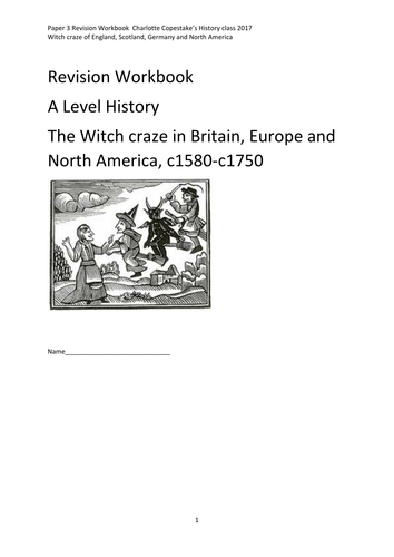 Witch Craze History revision workbook for A level