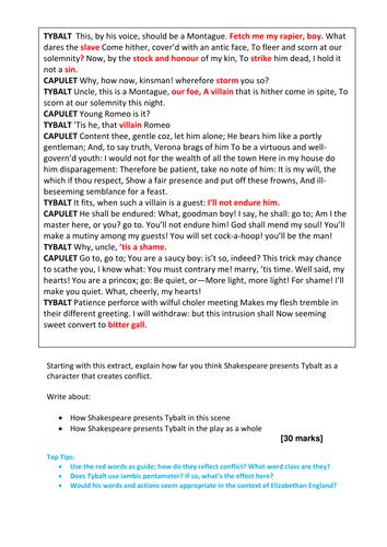 Romeo and Juliet Tybalt / Conflict Mock Exam Assessment NEW AQA 1-9 SPEC