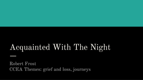 Robert Frost Acquainted With The Night