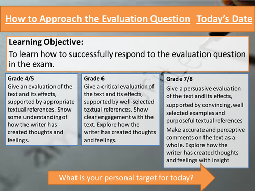 Eduqas Component 1 Reading Skills- Approaching the Evaluation Question (walkthrough)