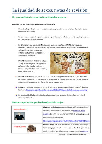 La igualdad de sexos: notas de revisión (AQA)