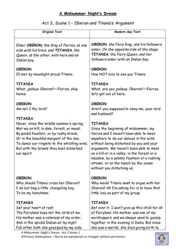 KS2 A Midsummer NIghts Dream - Translation from traditional to modern langugae - Act 2, Scene 1