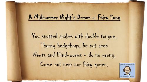EYFS/KS1/KS2 - A Midsummer NIghts Dream Song Lyrics to 'You Spotted Snakes' (Shakespeare Week)